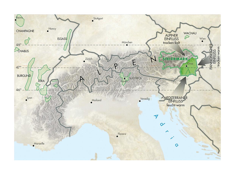 Karte Lage der Weinregion Steiermark in Österreich - Wein Steiermark