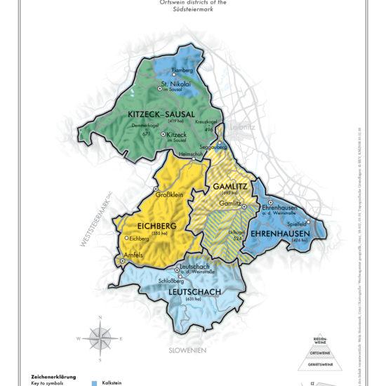 Karte der Ortsweingebiete der Südsteiermark - Ortswein Steiermark