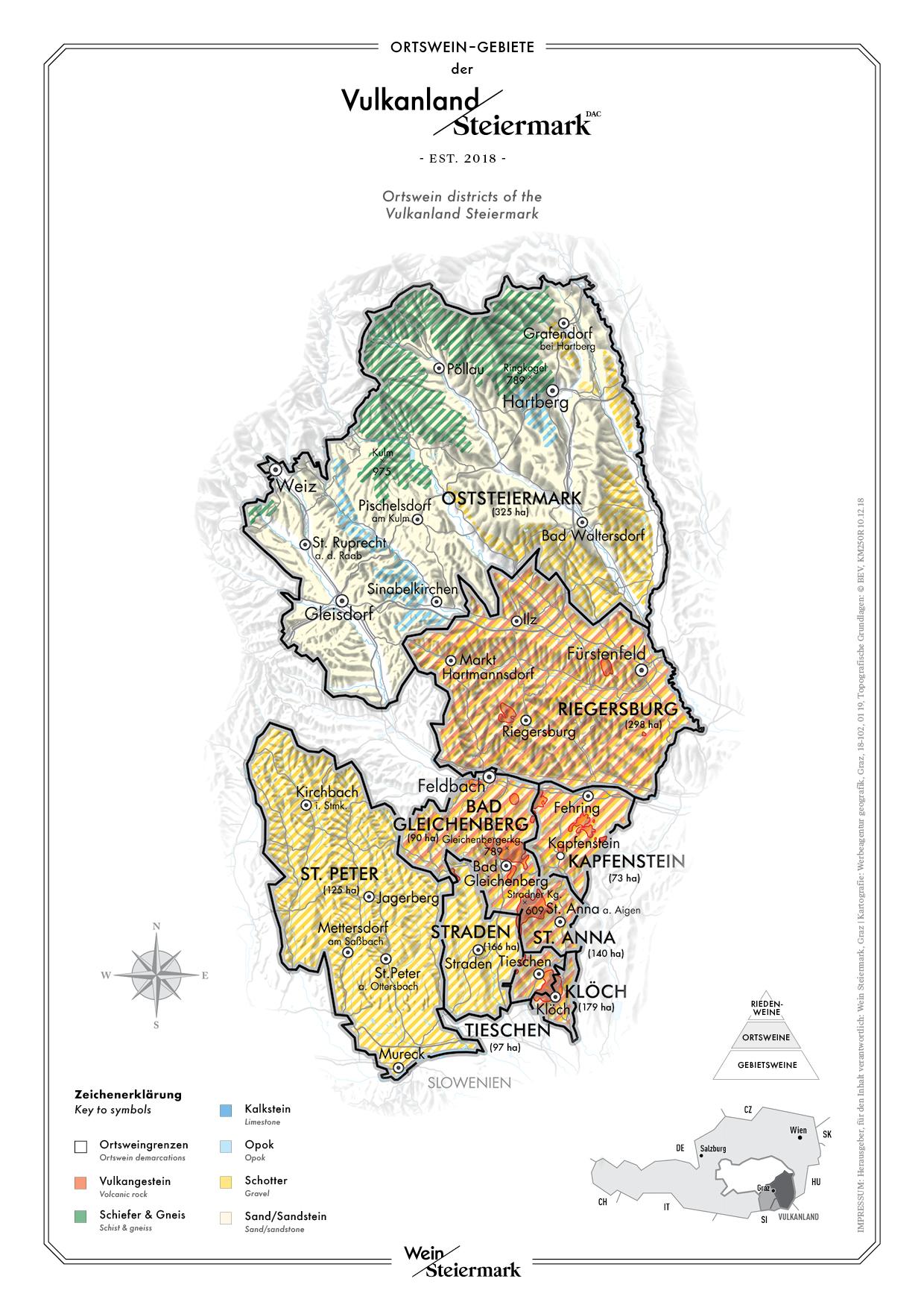 Karte der Ortsweingebiete im Vulkanland - DAC Anbaugebiete der Südsteiermark - Ortsweine Steiermark