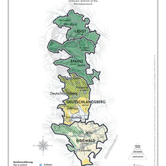 Karte Ortsweingebiete Weststeiermark - DAC Anbaugebiet Weststeiermark - Wein Steiermark